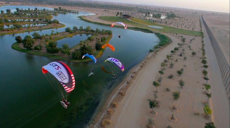 Paramotor flying Downtown Dubai / Parabatix Sky Racers Dubai 2014