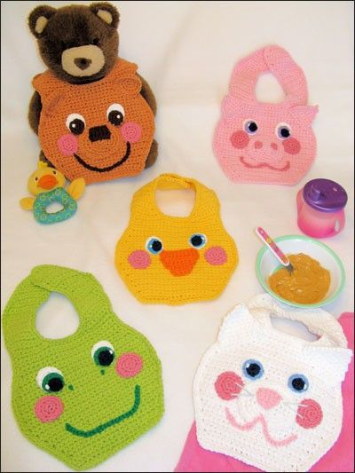 ^ No pattern, just picture.  Crochet  Bibs.