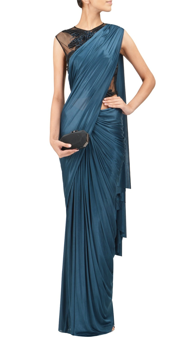 gorgeous teal pre-stitched sari by amit aggarwal