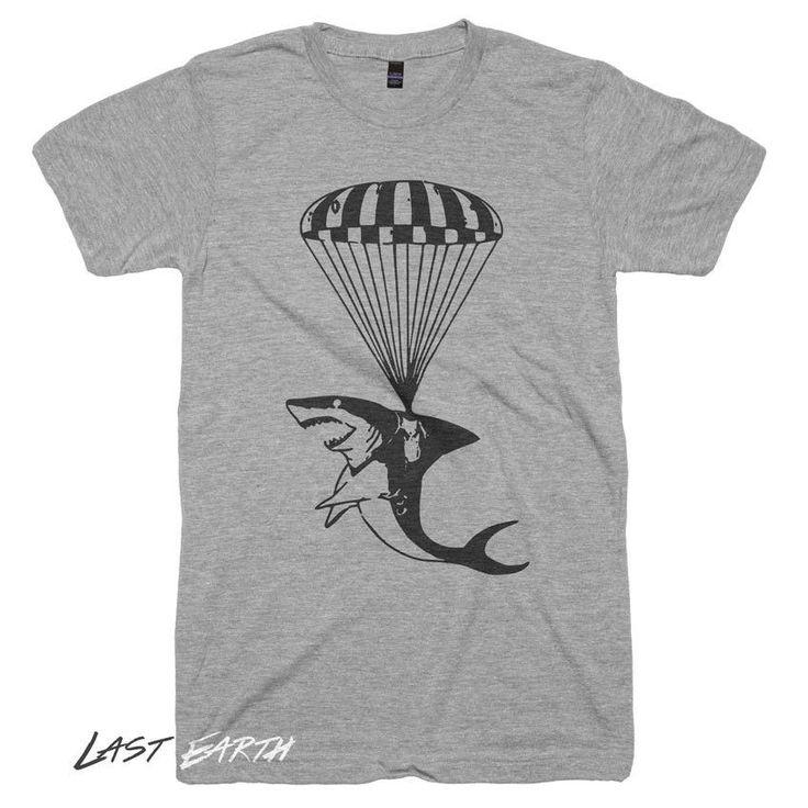 Mens Shark T Shirt Funny Shark Tshirt Shark Parchute Tshirt Funny Tees Jaws T Shirt Sharks Gifts Nautical T-Shirts Animal T Shirts Birthdays