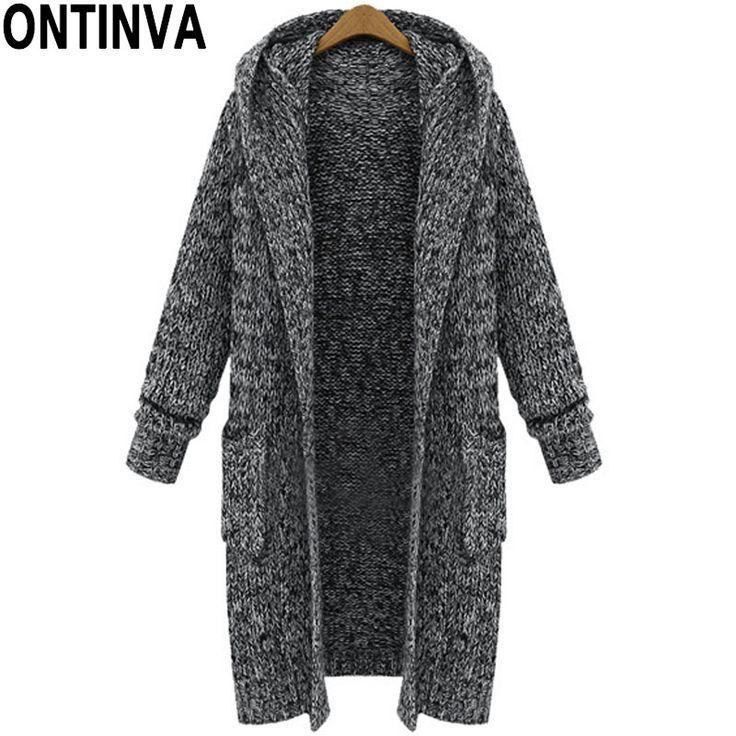 5xl xl黒ロングカーディガンセーターで帽子ファッション女性プラスサイズ生き抜くフルスリーブ付きポケット冬暖かいセーターコート