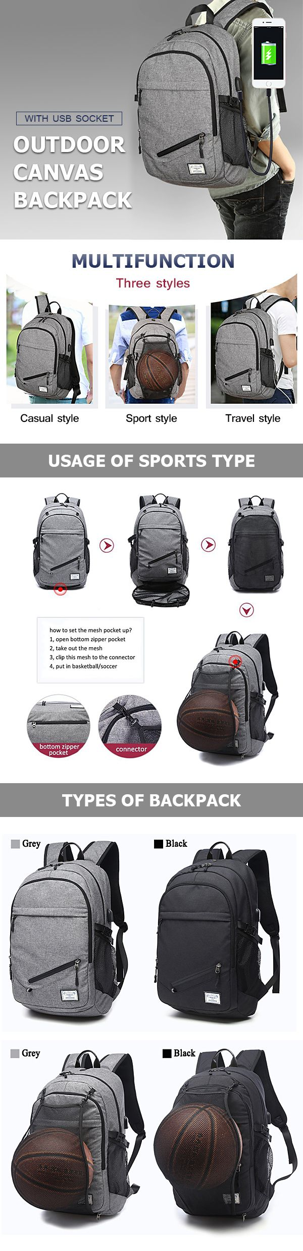 US$32.94 Outdoor Travel Canvas Backpack 17'' Laptop Bag Basketball Bag With USB Socket