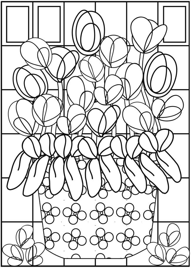 kleurplaat tulp en narcis om tes and on