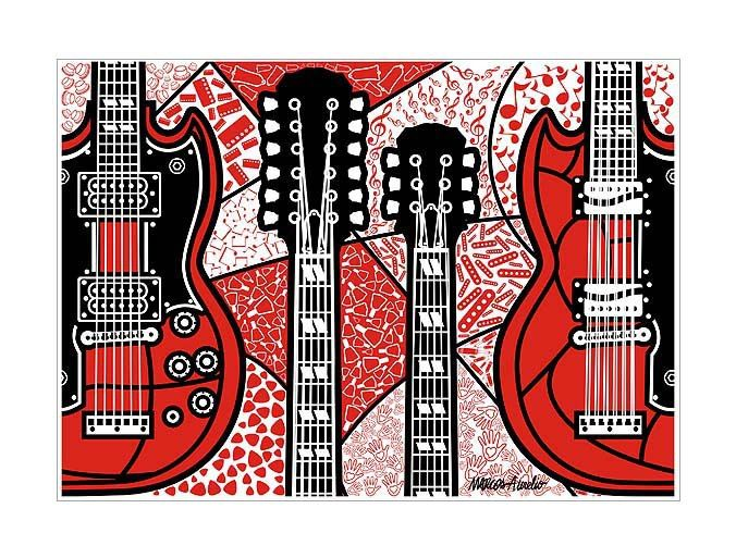 "2010 - Marcos Aurelio PopArt Series: My art tribute to the Gibson EDS-1275. It was called ""the coolest guitar in rock."""