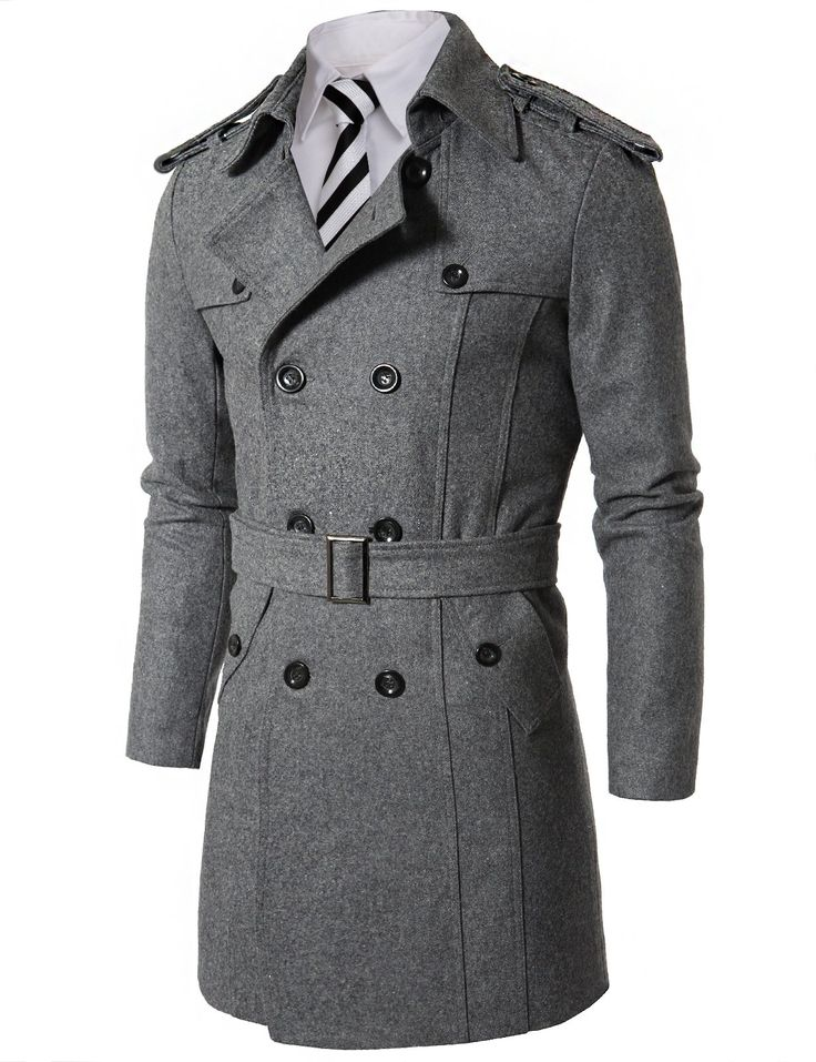 Doublju Mens Wool Coat with Belt GRAY (US-L) | Things to Wear