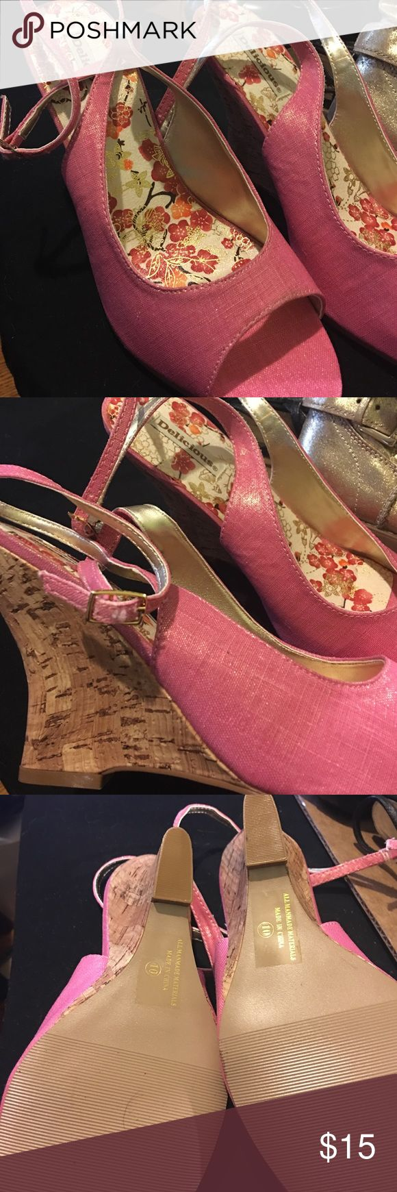 Delicious pink wedges, size 10 Very elegant and comfortable wedges. Never wore them because I mistakenly bought a 10 size and I'm 9 Delicious Shoes Wedges
