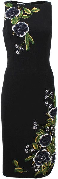Oscar De La Renta Black Jewel Neck Flower Embroidered Dress