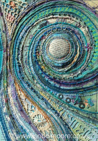 textile art contemporary quilted and embroidered tapestry work Blue Fossil