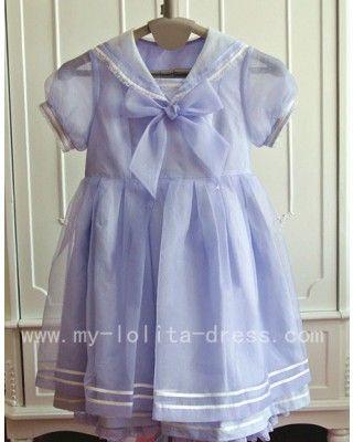 #Lolitadress#Lolita#Dress,Organza Cotton Bow Sailor Babydoll Lolita Dress