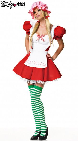 Strawberry Cutie Costume - Limited Edition found exclusively at Yandy!    The Sexy Strawberry Cutie Costume is a three piece set that features a red dress with puff sleeves and A-line skirt, attached white apron with ruffle trim, bow detail, green/white striped thigh highs and pink bonnet. (Petticoat not included.)
