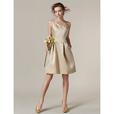 Lanting+Bride®+Al+ginocchio+Raso+Vestito+da+damigella+-+Linea-A+Monospalla+Taglia+forte+/+Minuta+con+Tasche+/+Drappeggio+di+lato+–+EUR+€+67.22