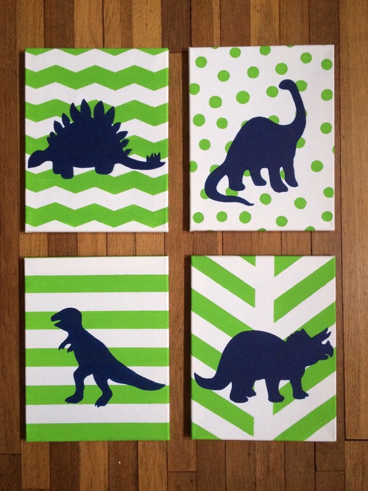Dinosaur silhouette canvas painting. Set of four 11 by 14in.  by SimplicityPaints on Etsy https://www.etsy.com/listing/199236796/dinosaur-silhouette-canvas-painting-set