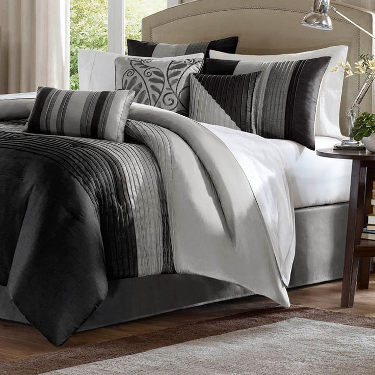Queen size 7-Piece Comforter Set with Black/Grey Stripes in Jacquard