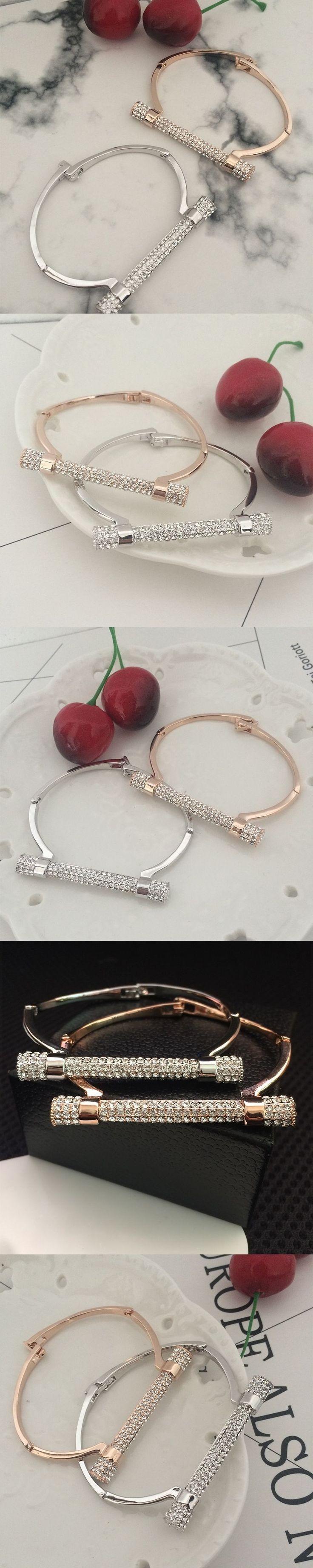 D shape metal bracelet cuff  bileklik crystal bangle luxury jewelry Horseshoe bracelets & bangles brazaletes pulseras mujer #luxurymujer