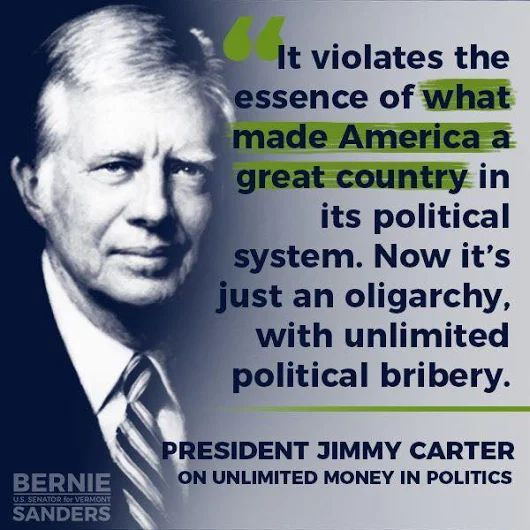 Pres. Jimmy Carter on Unlimited Money in Politics  #NoToOligarchy #DraftBernie