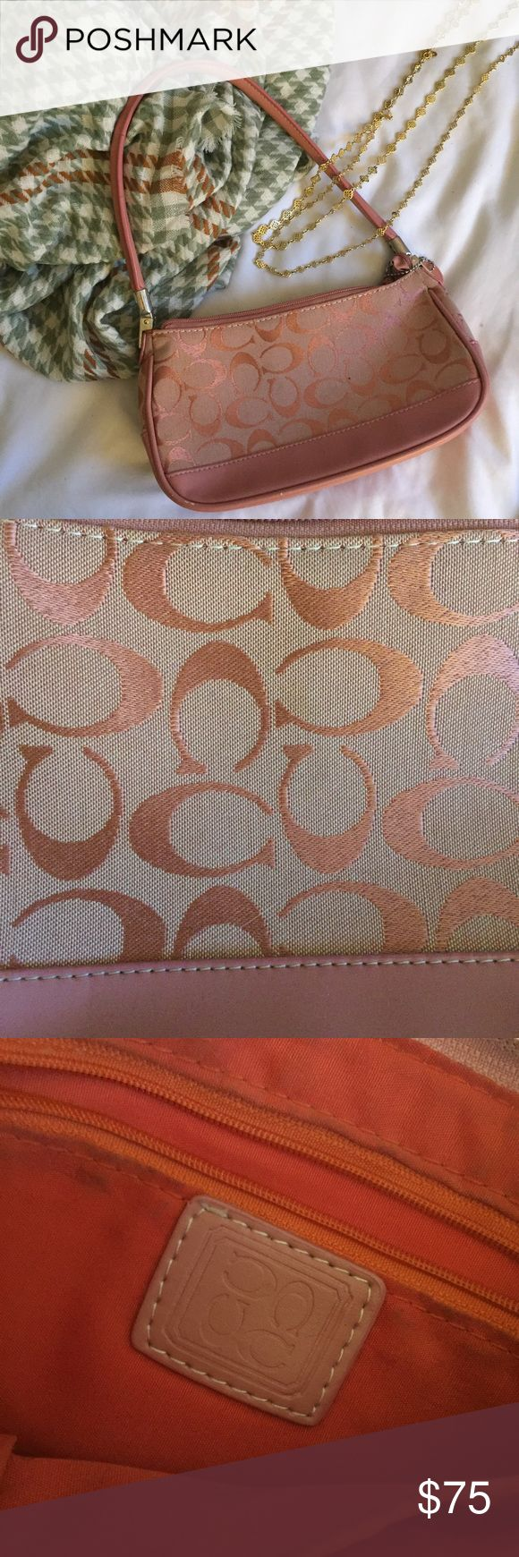 Lovely Pink Coach Purse Beautiful pink Coach bag, lovingly used for two years. It's in great condition on the outside, but could use a nice cleaning on the inside, so I've marked it down. Make me an offer! Coach Bags
