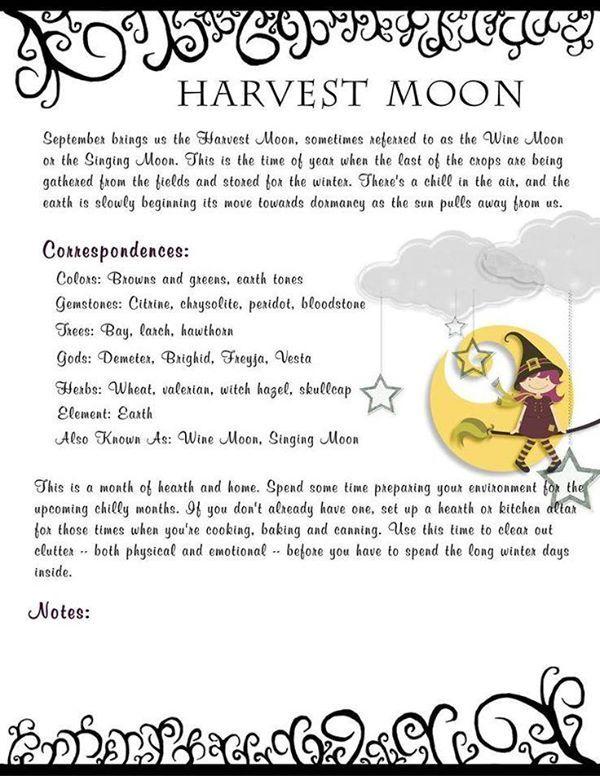 Autumn Equinox Harvest Moon Correspondences For The