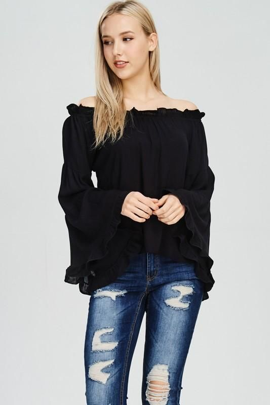 f856ef0ae4682 Super cute black top with bell sleeves and ruffle details!!