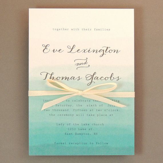 Eve Suite - Teal Blue Ombre Wedding Invitation - Watercolor Faded Invitation -  Customizable Wedding Invitation - Sample