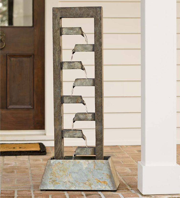 Cascading Slate Fountain | Deck U0026 Patio Accents   Bring The Soothing Sound  Of Water In