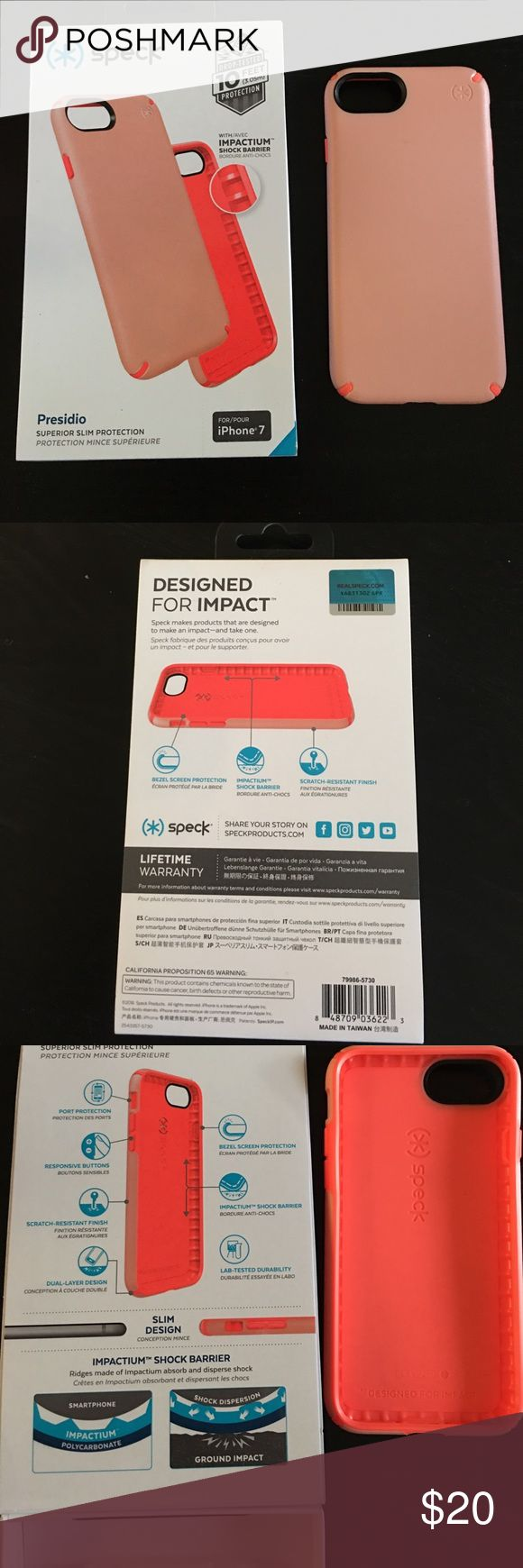 Brand New IPhone 7 Speck Case. Peach/Coral Brand new Iohone 7 speck case, comes with box NEVER been used! Accessories Phone Cases