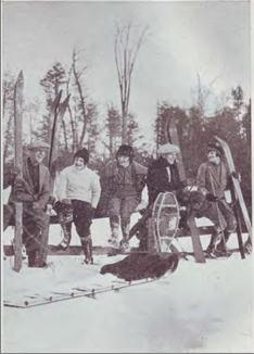 Peterborough Canoe Company Promotional Photograph C. 1930. Skis were an easy cross over product for local canoe companies in the early-mid 20th century.  Local builders like the Peterborough Canoe Company, and the Chestnut Canoe Company already had the equipment, suppliers and skilled workers required to steam, bend and manipulate wooden planks.
