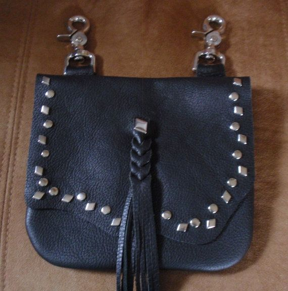 black leather biker bag belt loop clip bag hip bag by MountainRagz, $29.99