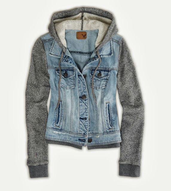 Denim cute vest hoodie