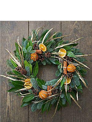 SELFRIDGES SELECTION FLOWERS Orange Christmas wreath
