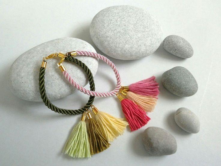 Cord bracelets with tassels. https://el-gr.facebook.com/ElitasBijoux