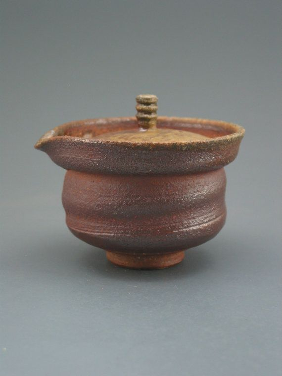 Shiboridashi Teapot 125ml. wood-fired iron rich by GREENWOODSTUDIO