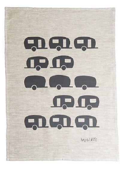 caravans tea towel in smoke grey by Ivy & Lil