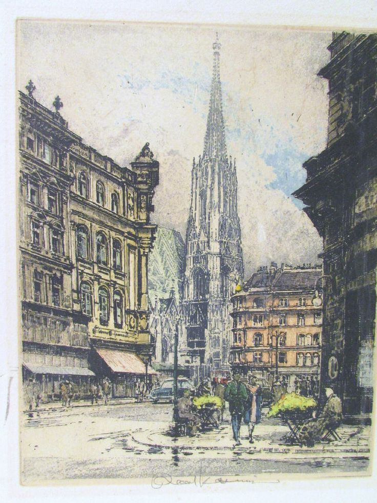 Original Signed Colorized Etching Robert Kasimir St Stephen's Cathedral Vienna #Etching