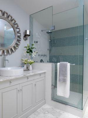 Right angle frameless glass shower enclosure (Adanac Glass).