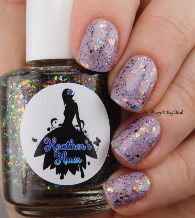 Heather's Hues Killer Costume Party over Scofflaw Nail Varnish Dust Bunny | Be Happy And Buy Polish https://behappyandbuypolish.com/2017/04/26/scofflaw-nail-varnish-dust-bunny-heathers-hues-killer-costume-party-layered-manicure/