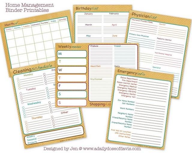 Calendar Binder Printables : Home management binder printables calendar weekly menu