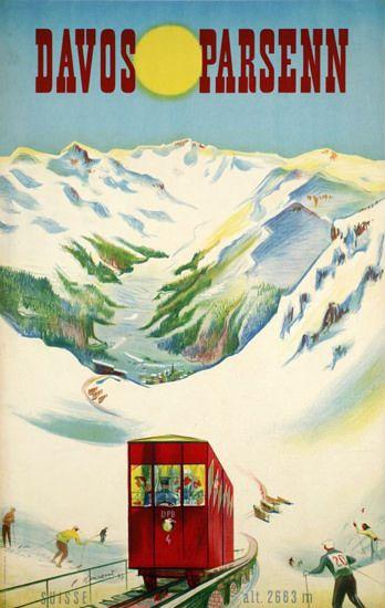 Davos Parsenn Suisse Switzerland Alps 1947 - www.MadMenArt.com features over…