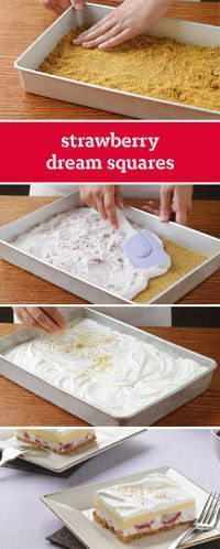Strawberry Dream Squares – Potluck no-bake squares don't get any sweeter than this dessert recipe: creamy vanilla pudding over a layer of strawberries and graham cracker crust.