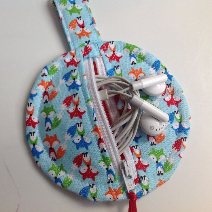 Cute Foxes Fabric Circular Zippered Earbud Pouch by sewmoira on Etsy
