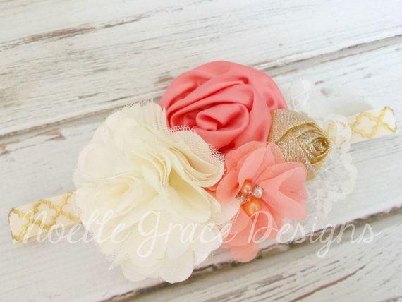 Coral Cream & Gold Fabric Flower Headband | girls, baby, newborn, toddler, shower, gift, bows, photography, photo, prop, ivory, wedding, shabby chic
