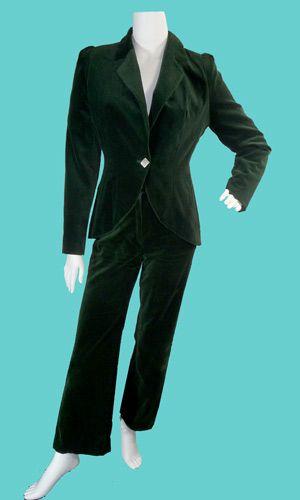 1970s dark green velvet trouser suit by Biba