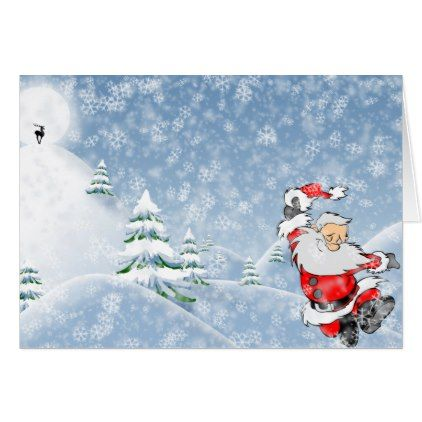 #Winter Christmas Scene Xmas Holiday Santa Claus Card - #Xmas #ChristmasEve Christmas Eve #Christmas #merry #xmas #family #kids #gifts #holidays #Santa