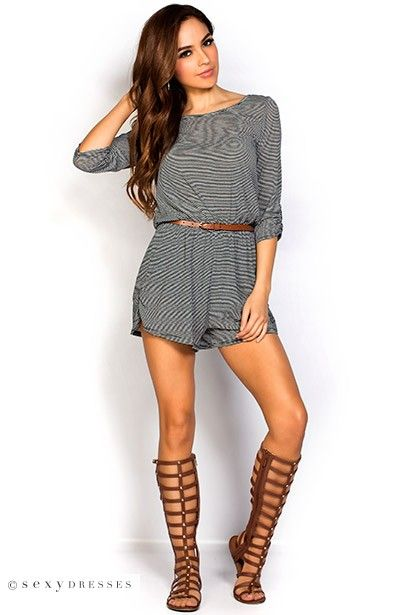 Quot Janet Quot 3 4 Sleeve Black And Gray Belted Short Striped