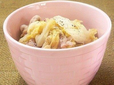 白菜と豚コマの蒸し煮 (塩バター味)