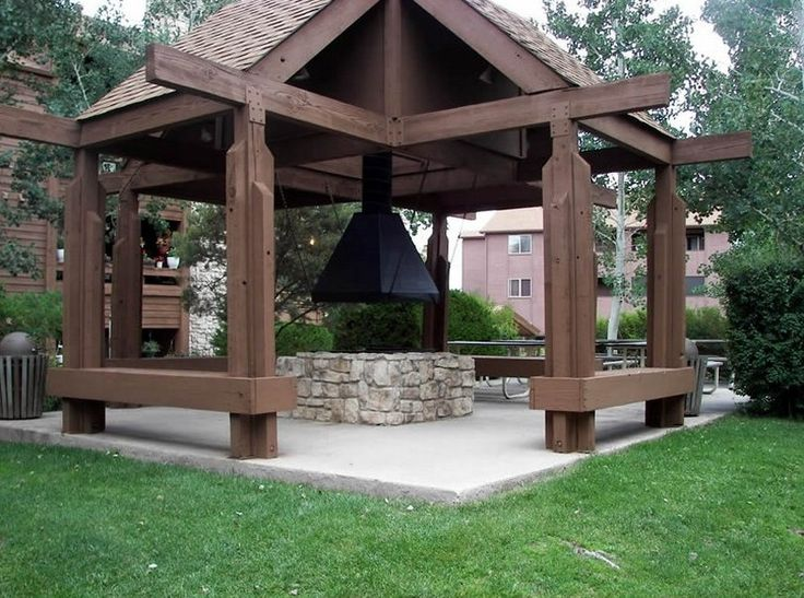 idea for gazebo with fire pit - Gazebo Patio Ideas