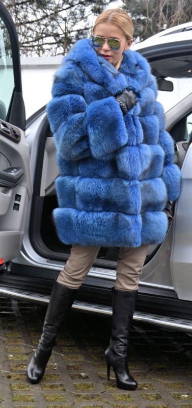 Bleu royal saga Fox Manteau de fourrure capuche comme veste sable vison Lynx silver chinchilla