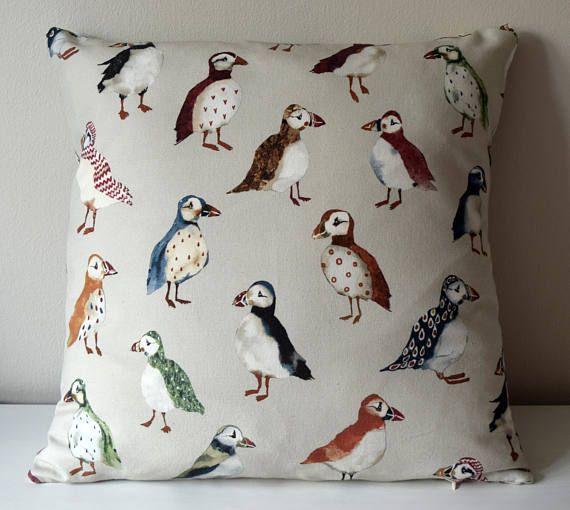 Pillow with Puffins, Kids Cushion, Boys Pillow, Nursary Cushion, Children's Pillow Case, Baby Pillow, Boys Throw Pillow