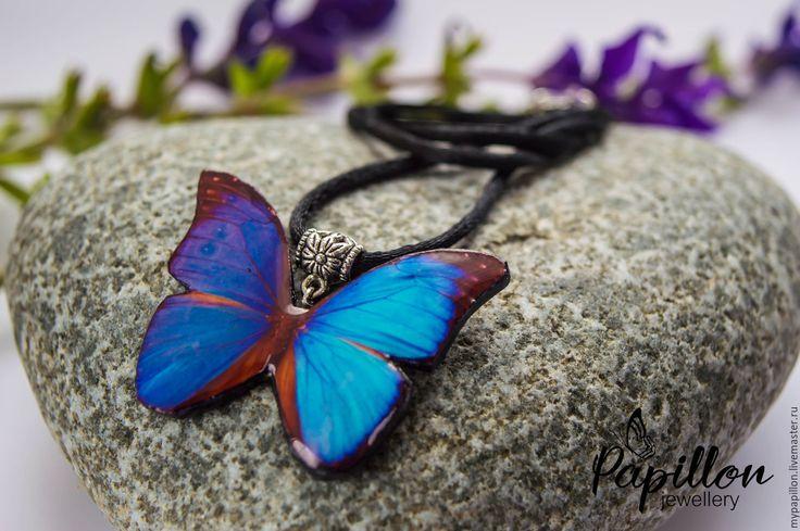 Купить Кулон Бабочка лазурная - кулон, синий, лазурный, бабочка, бабочка на шею…