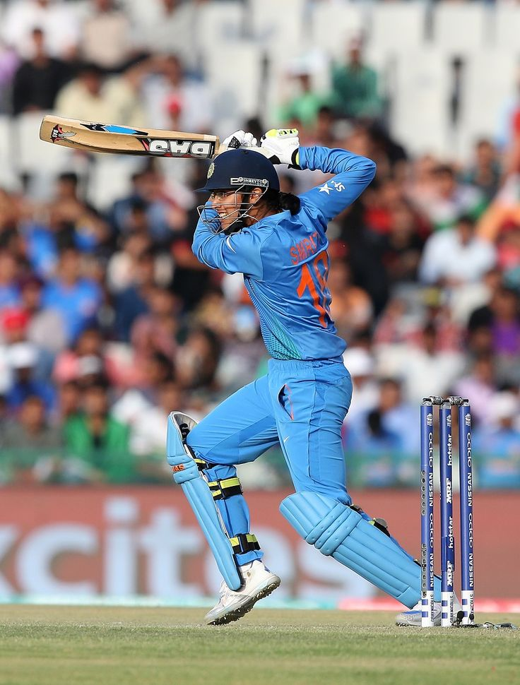 Smriti Mandhana goes through the off side, India v West Indies, Women's World T20 2016, Group B, Mohali, March 27, 2016. She scored 22 with 1 four, 1 six.