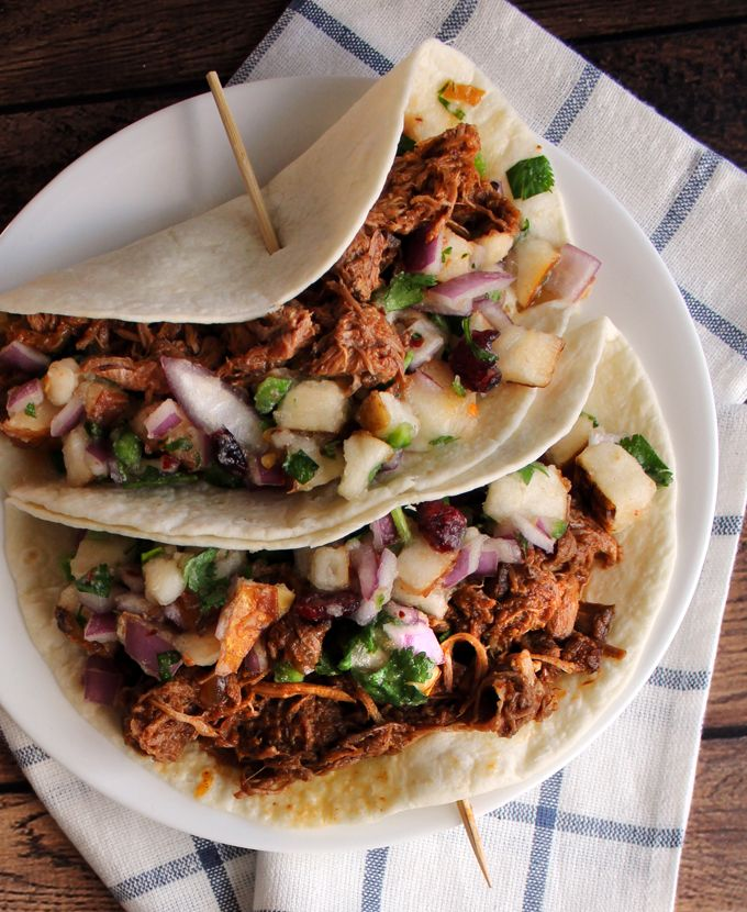 Pulled Pork Tacos & Spicy Pear Salsa | Recipe | Pork, Tacos and Pears